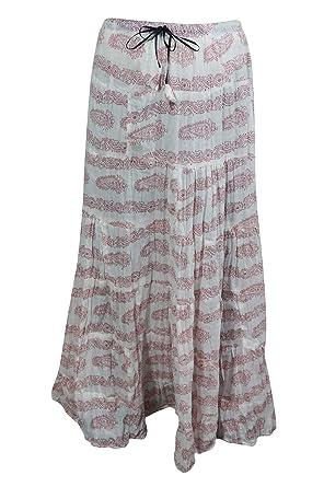 2653db7ad9 Mogul Interior Maxi Skirt Cotton White Printed A-Line Bohemian Flirty  Festive Skirts: Amazon.co.uk: Clothing