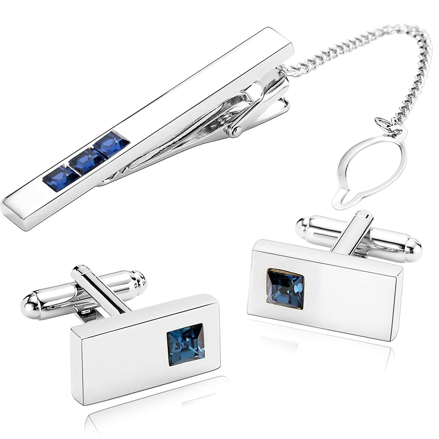 Aooaz 3Pcs Mens Cufflinks and Tie Clip Set Stainless Steel Blue CZ Rectangle Tie Pin Shirt Dress 2X1CM