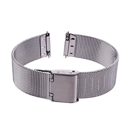 Xuexy 14mm Pebble Time Round with Quick Release Spring Bars/Pins Milanese Wire Mesh Stainless Steel Watch Band Strap Replacement Bracelet,Silver