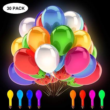 Decoraciones de Bodas Ideal para cumplea/ños Fiestas Aire Rellenables con Helio GIGALUMI Paquete de 40 Luces LED con Globos de Colores Mixtos 3 Modos Luces de Fiesta Intermitentes Dura 12 Horas