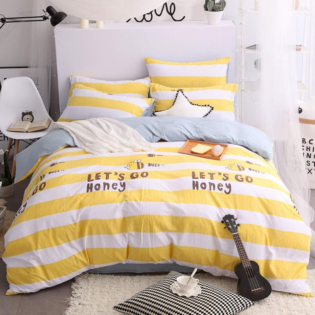 LilyAngel ホームインテリアに適した4つのコットンハイグレード高密度ブラッシングベッドリネンピローケースのベッドのベッドセットの4つのセット (Color : イエロー, サイズ : 150CM) B07NCYXD87 イエロー 150CM