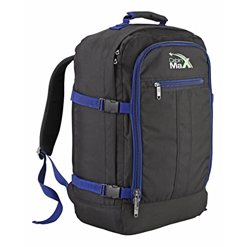 Cabin Max Backpack Flight Approved Carry On Bag Massive 44 litre Travel Hand Luggage 55x40x20 cm (Black/Navy)
