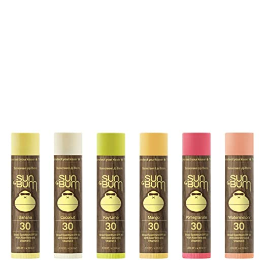 Sun Bum Lip Balm, SPF 30, 0.15 oz. Stick, 6 Count, Broad Spectrum UVA/UVB Protection, Hypoallergenic, Paraben Free, Gluten Free, Vegan (Coconut, Pomegranate, Mango, Watermelon, Key Lime & Banana)