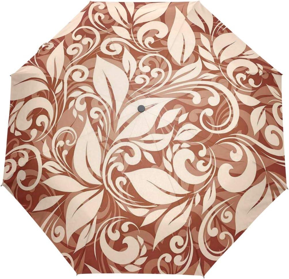SUHETI Paraguas automático de Apertura/Cierre,Composición Floral Artística Estilizado Patrón Enredado Natural Vintage,Paraguas pequeño Plegable a Prueba de Viento, Impermeable