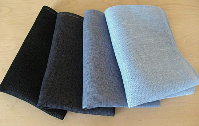 Amazon.com: Linen Napkin Serviette Black Gray Asphalt set of ...