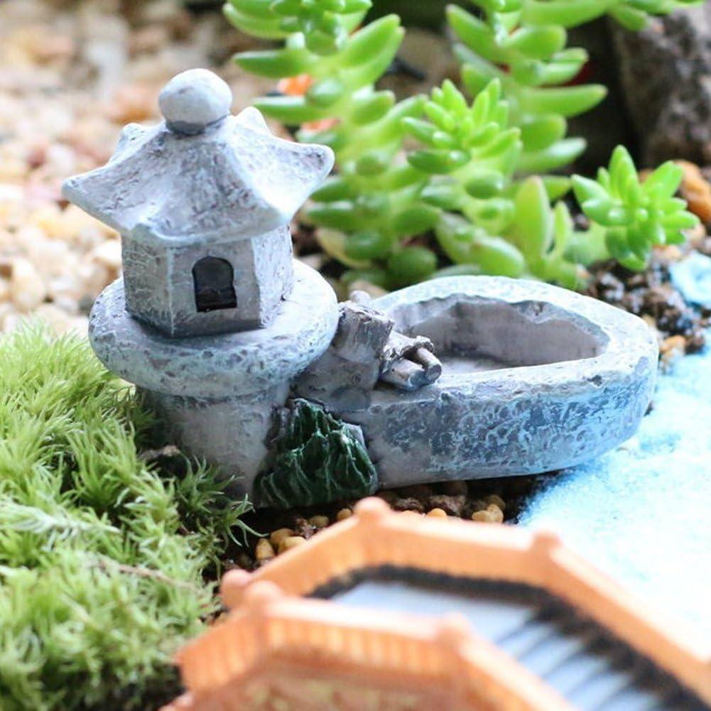 Colore Casuale - Colore Casuale Stagno Torre Resina 1 Creazioni PC Mini R/étro Fatato Decorazione da Giardino Statuette Giocattolo Micro Esterno Fai Te Ornamento Miniature Terrario Casa free size
