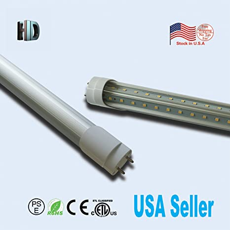 US stock 10 Pack T8 LED Light Tube with ETL listed V shape Double rows 4ft 24W G13 cap 6500K white daylight ballast bypass 4 foot led fluorescent ...