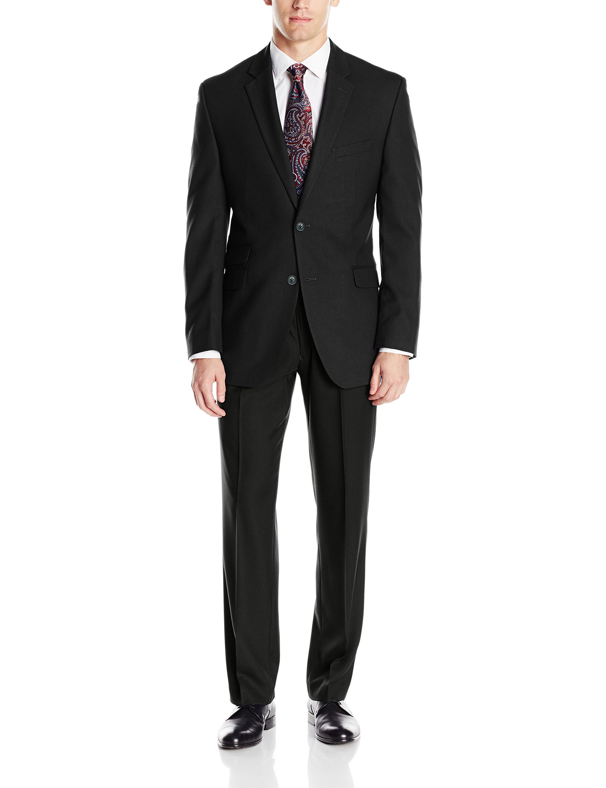 Perry Ellis Men's Slim Fit Suit With Hemmed Pant, Black, 40 Regular