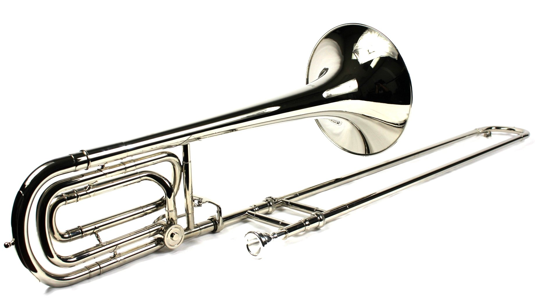 Brand New Bb/F Bass Trombone w/ Case and Mouthpiece- Nickel Plated Finish by Moz (Image #2)