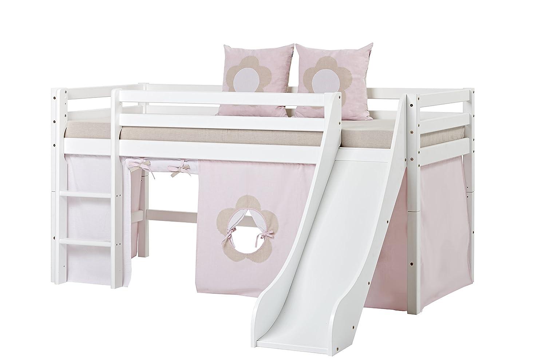 Hoppekids Basic-A5-1 - Cama Media Alta, Madera Maciza de Pino, Incluye Textiles y colchón de Hadas y Flores con Diadema, 90 x 200 cm, Color Blanco