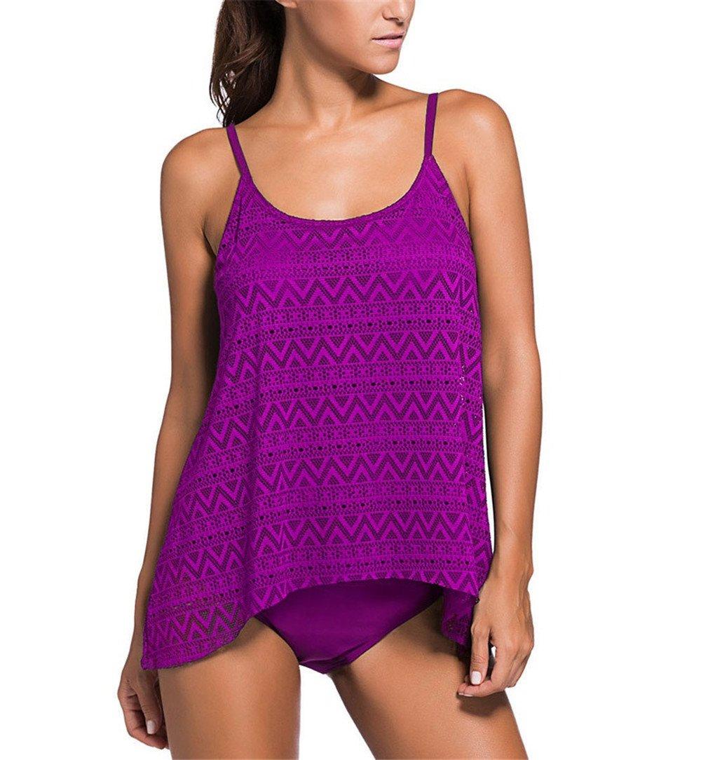 Bañador de malla/ mujer con raya/ violeta/ redondo Tankini Sets/ Con ...