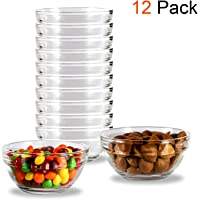 4 Inch Glass Ramekins Bowls,WERTIOO MiniGlass Bowls for Kitchen Prep, Dessert, Dips, and Candy Dishes or Nut Bowls, Set of 12