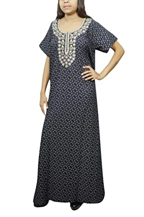 Indiatrendzs Womens Maxi Night Dress Cotton Night Wear (Navy Blue Grey)   Amazon.in  Clothing   Accessories b36395da0