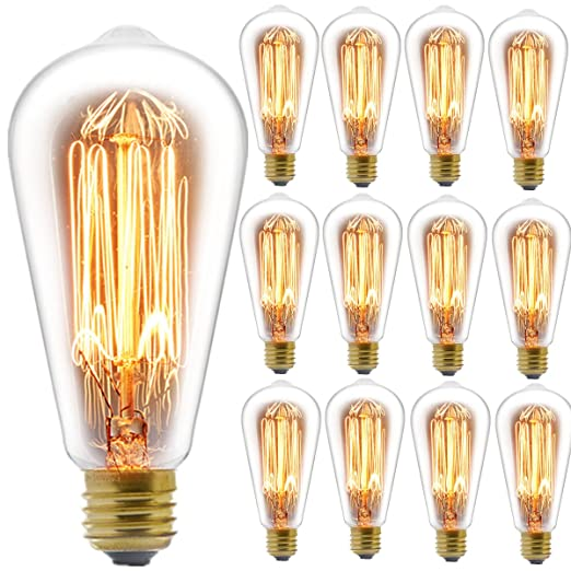 Edison Bulb, Fadimi Koo Vintage Bulb 60 W Dimmable St58 Squirrel Cage Filament Edison Lihgt Bulb For Home Light Fixtures Decorative, Pack Of 12 by Fadimi Koo