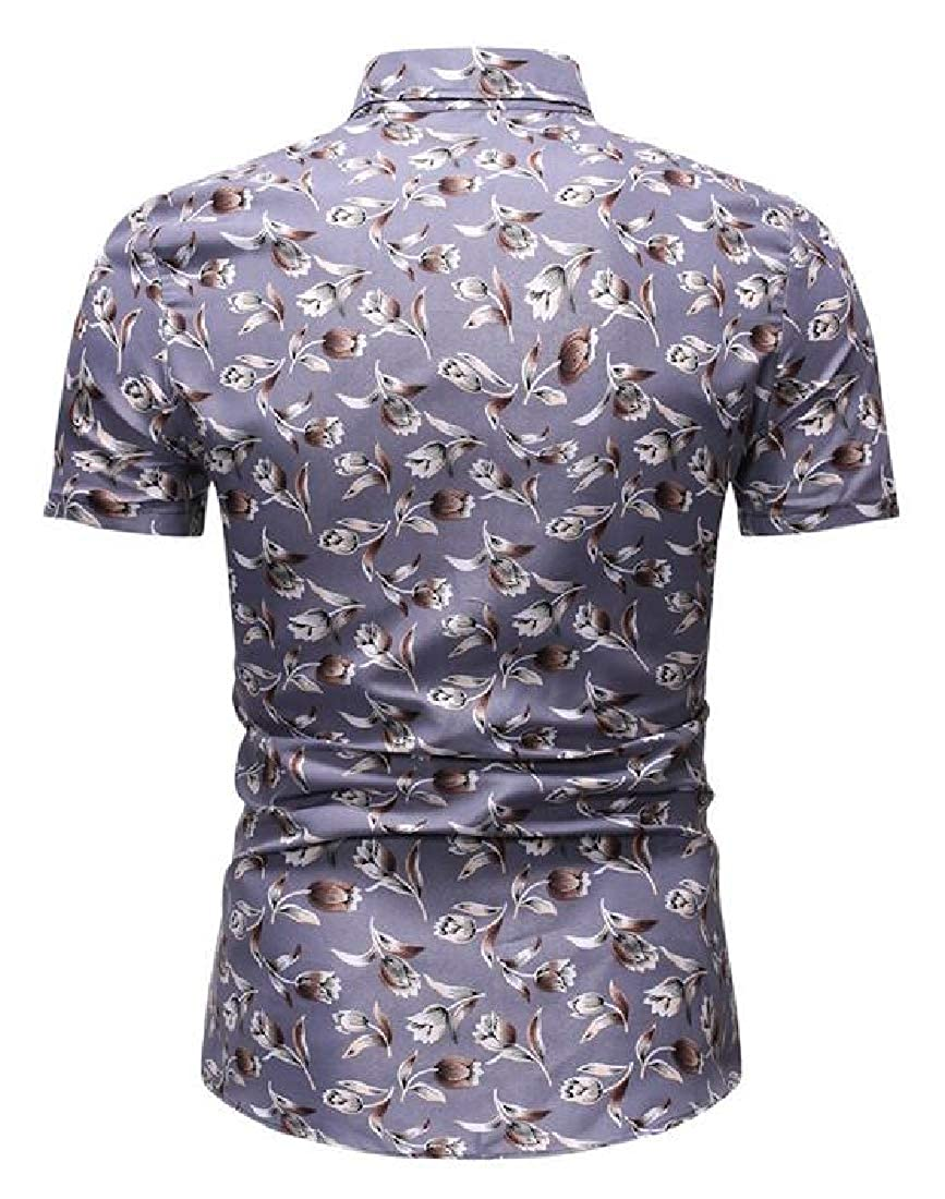 Rrive Men Summer Short Sleeve Lapel Neck Print Slim Fit Button Down Shirt
