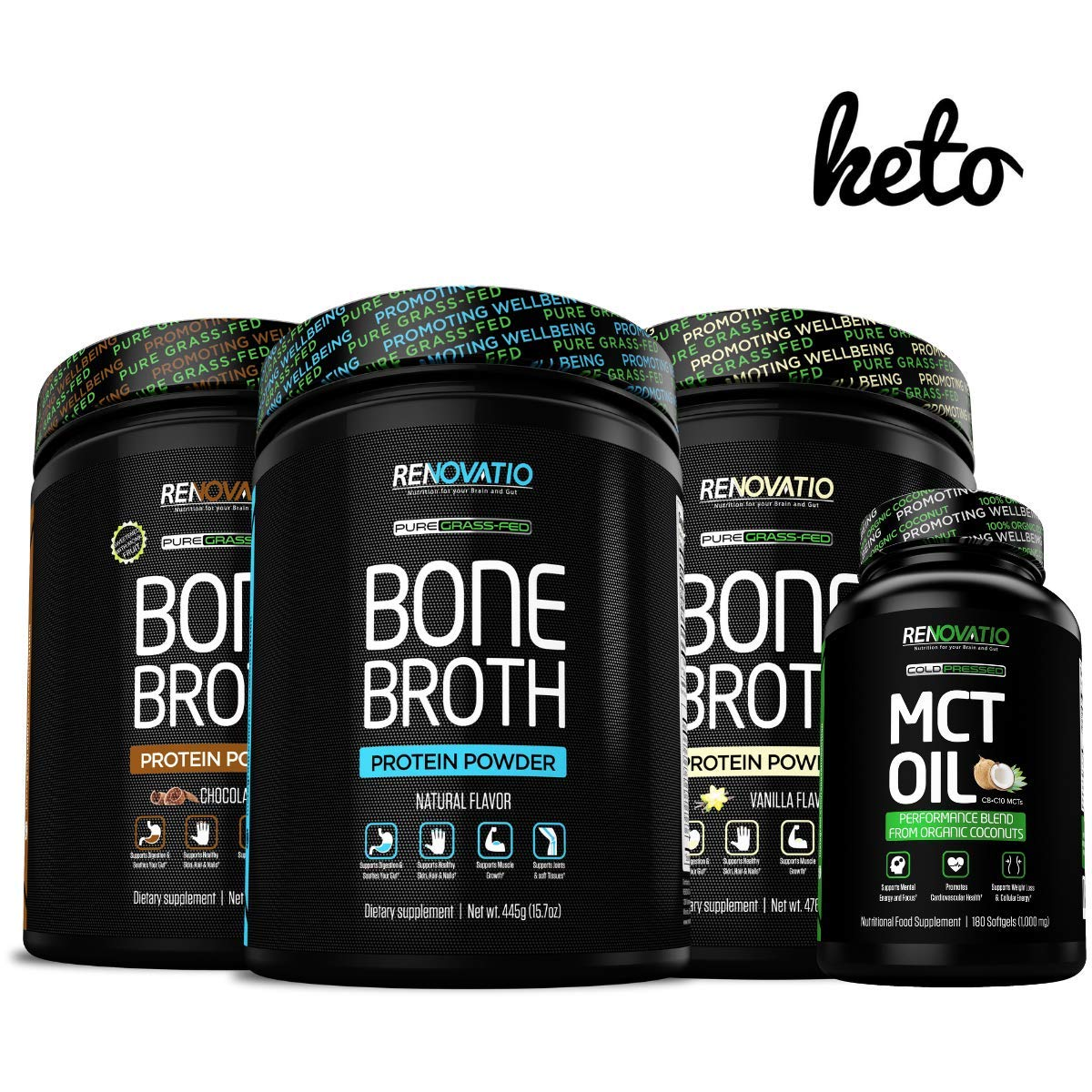 Bone Broth Protein Powder & Organic Coconuts MCT Oil Keto Bundle - Grass-Fed Ancient Form of Nutrition + Vital Collagen. Gluten Dairy Soy Corn Nut Free Natural, Chocolate & Vanilla Flavors