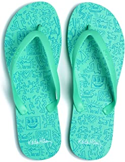 product image for Tidal New York - Comfortable Flip Flop Sandals for Men - Keith Haring - Green - Made in The USA