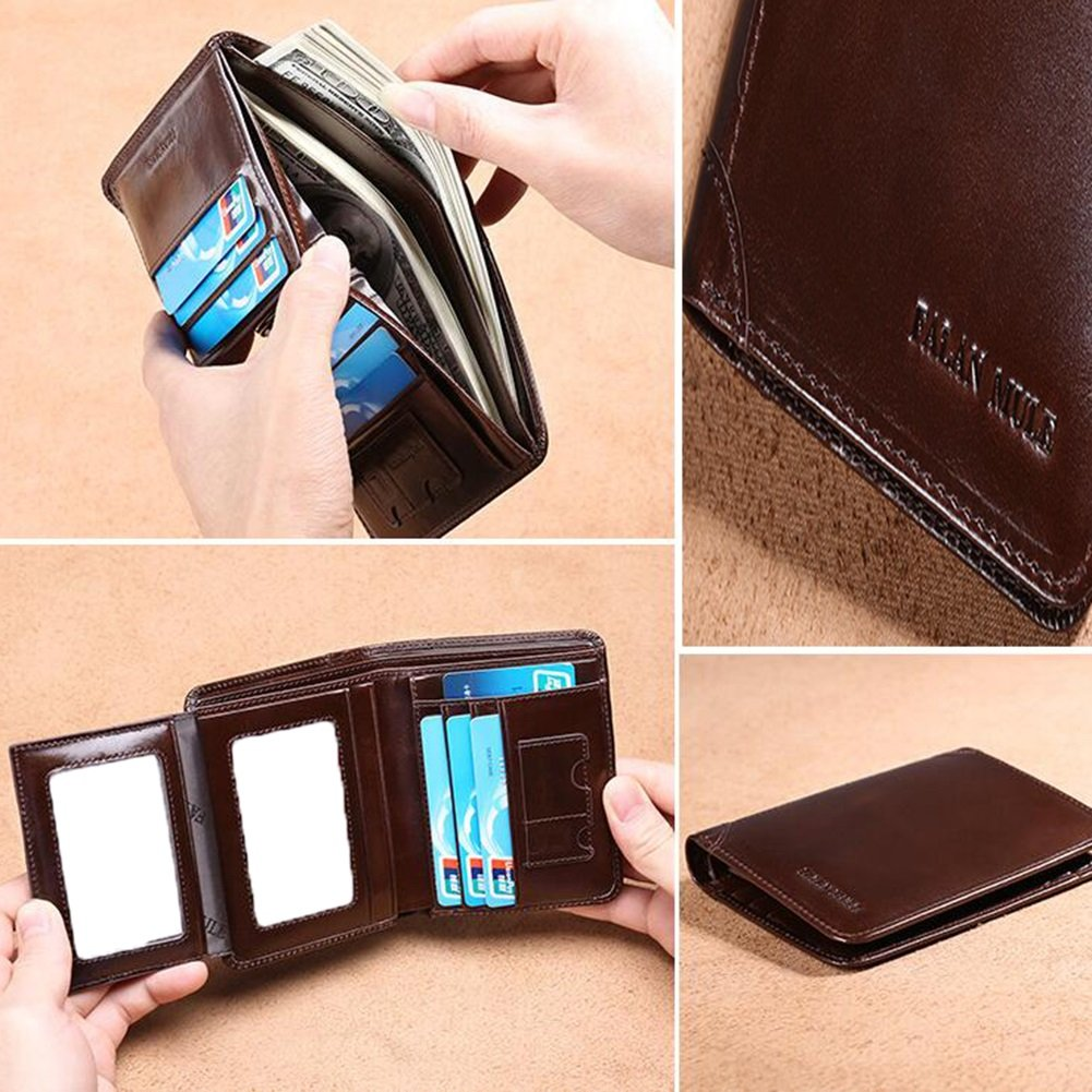 Wallets Mens wallet leather short paragraph vertical section wallet male card package drivers license wallet Clutch purse