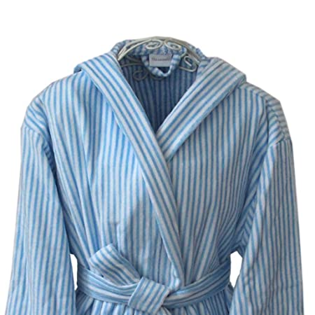 Homescapes XXL Men s Velour Hooded Bathrobe White and Lightblue Stripes -  100% Cotton Dressing Gown  Amazon.co.uk  Kitchen   Home dbc4deabd