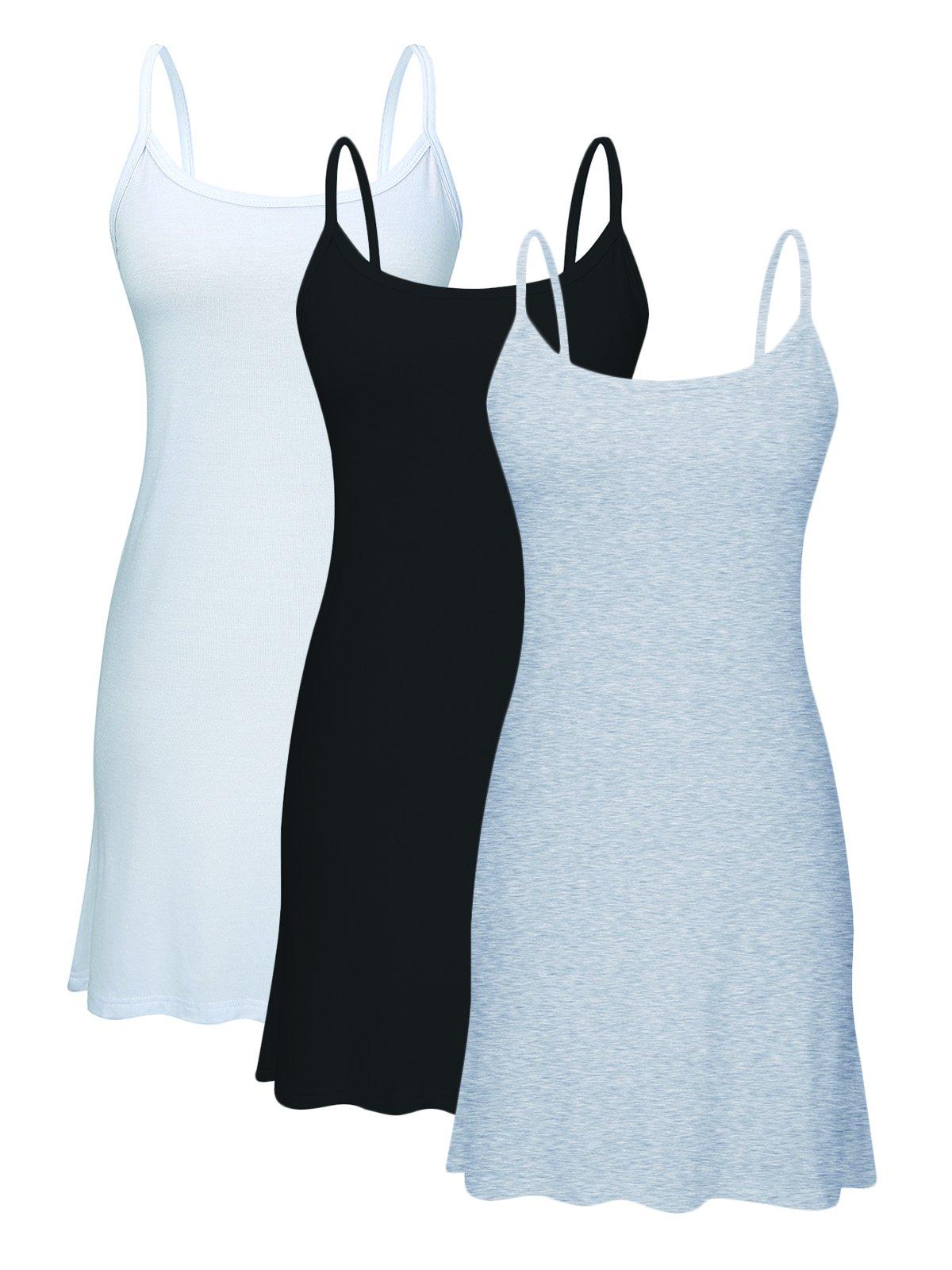 Century Star Women's Stretch Cotton Cami Basic Solid Long Length Adjustable Spaghetti Strap Tank Top 3 Pack - Black/White/Grey 6XL/US 18W-22W