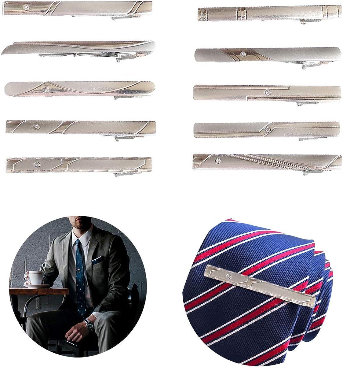 Qiundar Clip de Corbata 10 Pedazo Pisacorbatas Hombre Oro Pasador de Corbata Alfiler de Corbata Tie Clips,para Fiesta Reuni/ón Negocios Boda