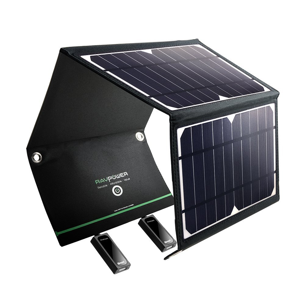 RAVPower Solar Charger 16W Solar Panel with Dual USB Port Waterproof Foldable (Certified Refurbished)