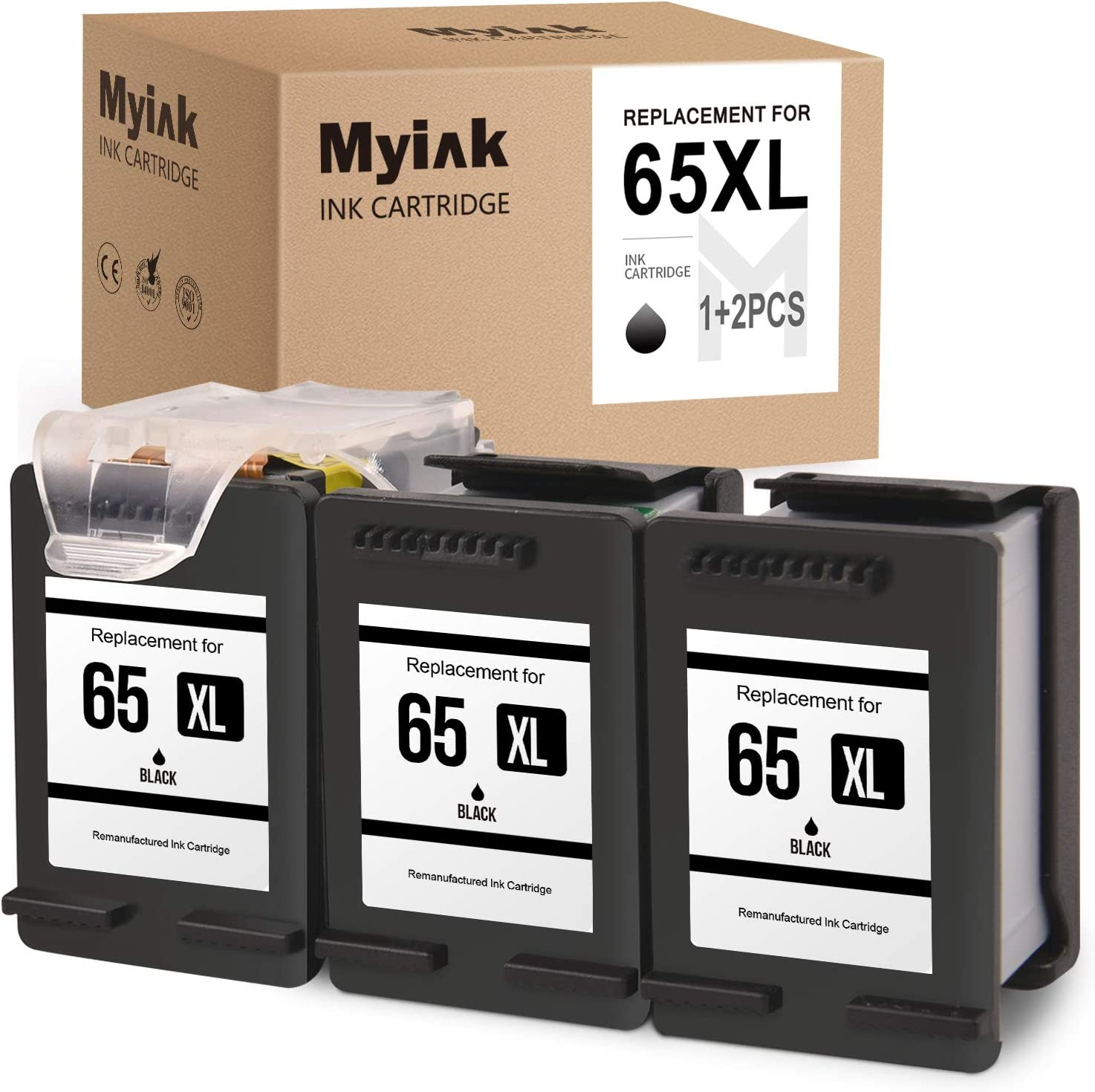 MYIK Remanufactured Ink Cartridge for HP 65XL 65 XL Eco-Saver to use with Envy 5055 5052 5012 5010 5030 DESKJET 3755 2622 3752 3720 2624 3722 3758 (1 + 2 Pack)