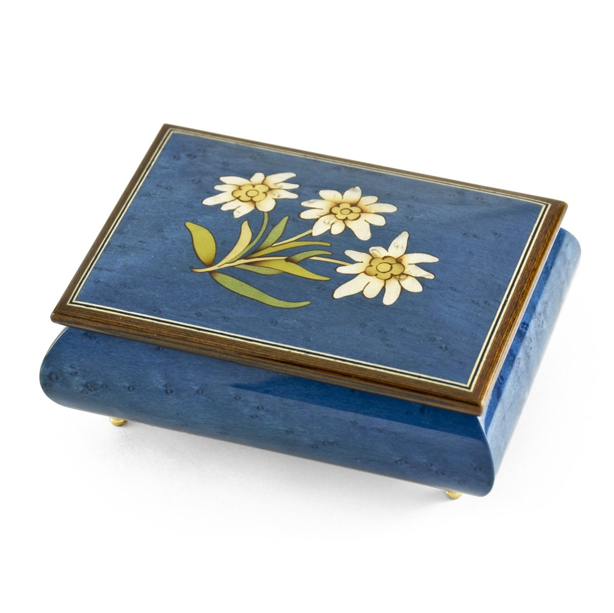Hand-made 30 Note Royal Blue Edelweiss Inlay Musical Jewelry Box - Godfather (Speak Softly Love)