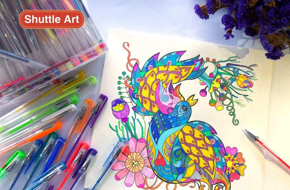 Shuttle Art 260 Colors Gel Pens Set 220% Ink Gel Pen for Adult Coloring Books Art Markers 130 Colored Gel Pens Plus 130 Refills by Shuttle Art (Image #7)