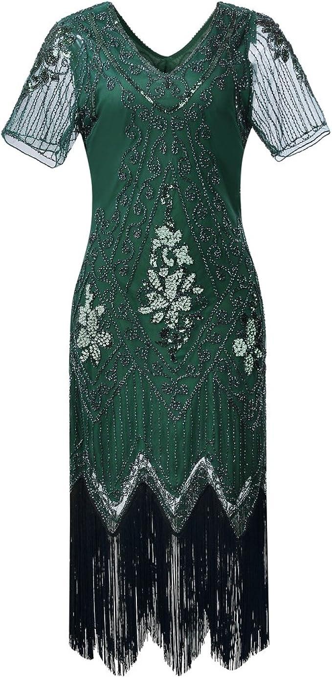 JaosWish Damen Gatsby Kleid Vintage 11er Flapper Kleider mit Pailletten  Perlen für Frauen Cocktail Party