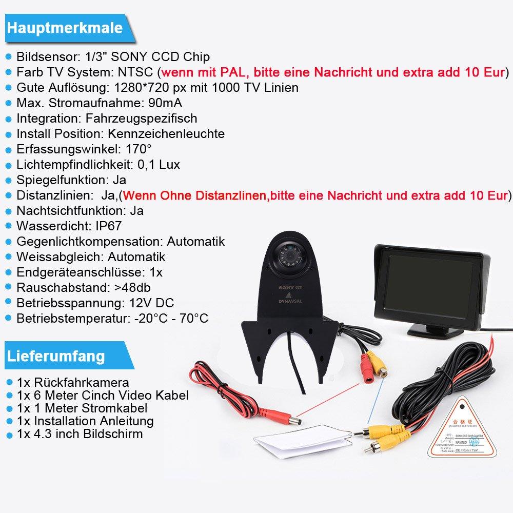 7 Pouces TFT LCD Moniteur de Voiture,HD Vision Nocturne IR Auto Cam/éra de Lampe de Frein Cam/éra de Recul pour Mercedes Benz Citan Sprinter Vario Viano Vito Transporter Van Cam/éra de Stationnement