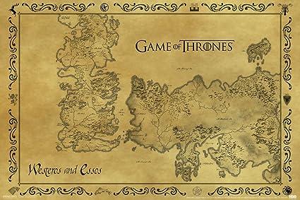 Pyramid America Game Of Thrones Antique Map Westeros Essos HBO Medieval Fantasy TV Television Series Poster