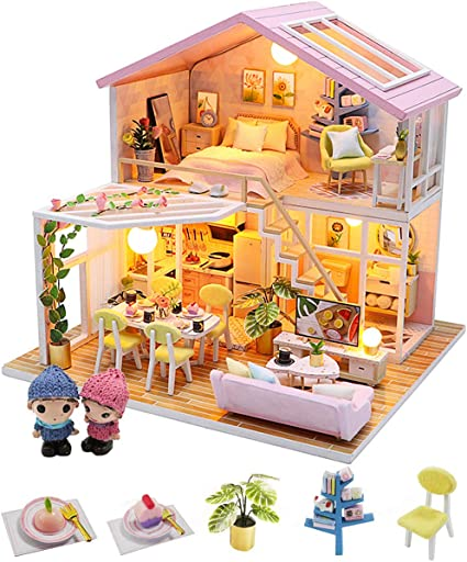 Music Movement and LED Light,1:24 Scale Creative Room Dollhouse Miniature with Furniture DIY Doll House Kit Model Creative Gifts Meet Little Beautiful |
