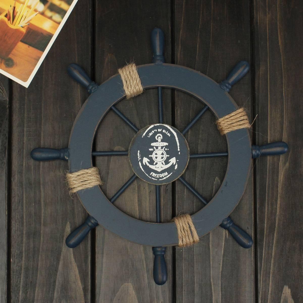 Ultnice D/écoration murale dint/érieur en forme de gouvernail de bateau Style m/éditerran/éen Bois Couleur Bleu marine