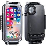 PULUZ ダイビング防水ケース iPhone X 専用 ウォータープルーフ 防水ポーチ 防塵 耐衝撃 水中撮影用 (ブラック)