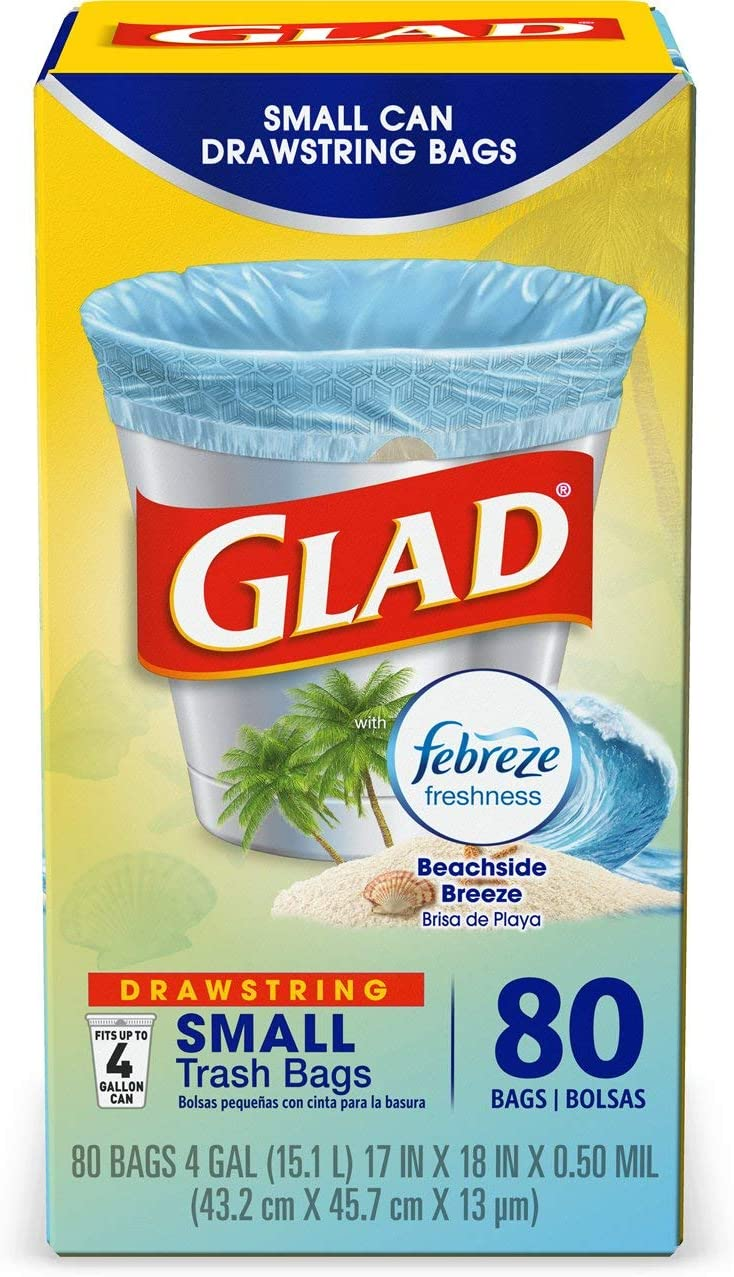 Glad OdorShield Small Drawstring Trash Bags - Febreze Beachside Breeze - 4 Gallon - 80 Count