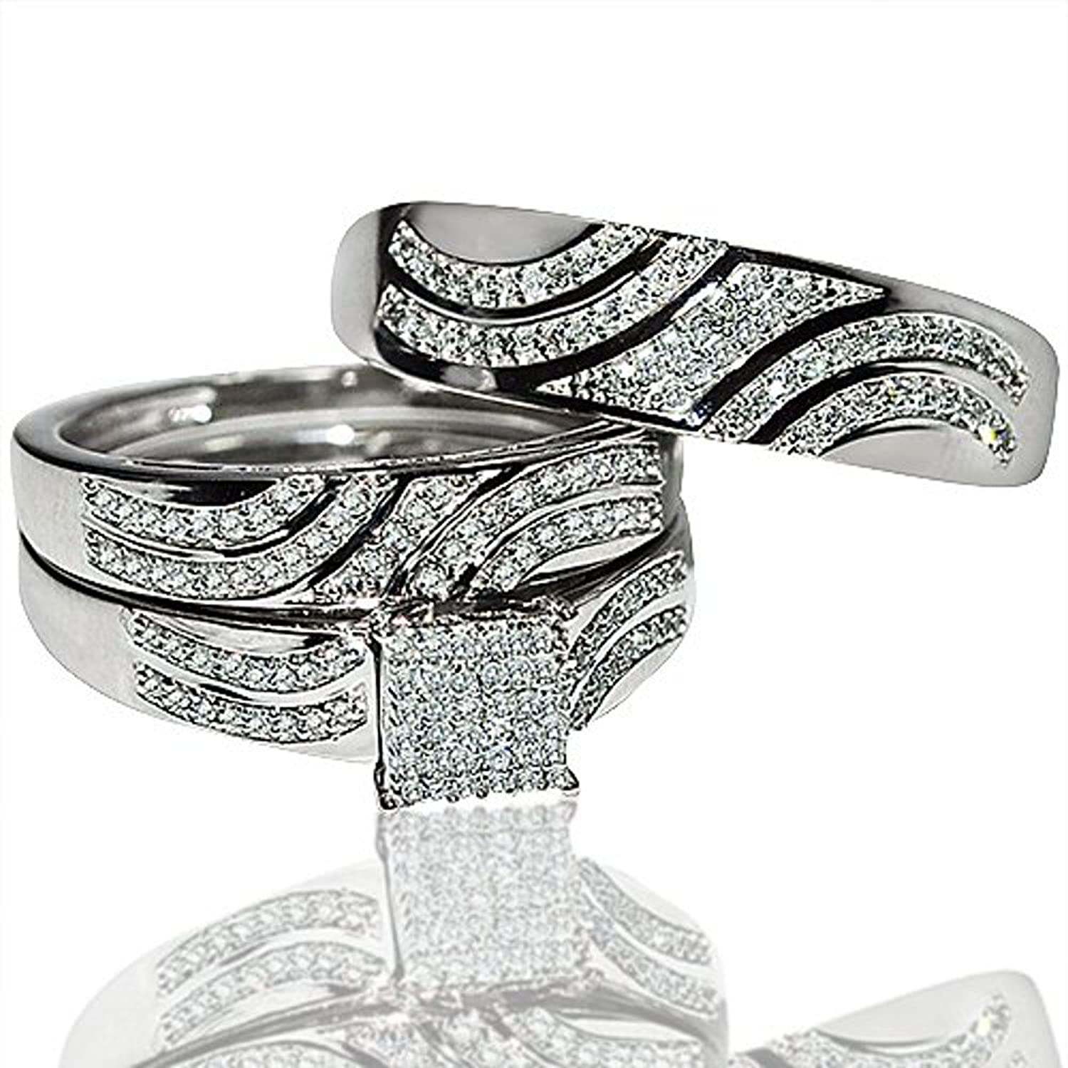 Amazon.com: His And Her Rings Trio Wedding Set White Gold 0.4cttw Diamonds  Square Top(i/j, I2/i3): Jewelry