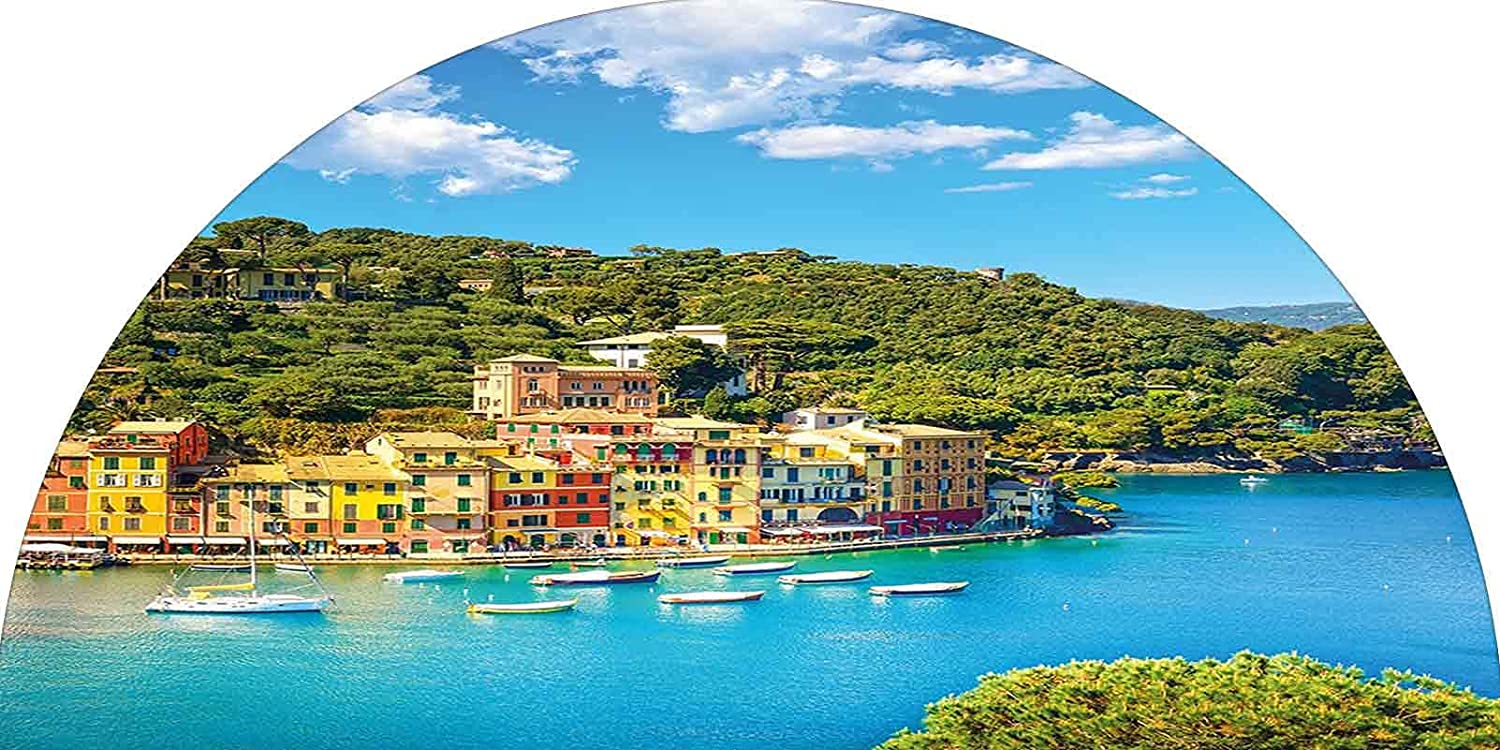 Frosted Privacy Arched Window Film, Portofino Landmark Aerial Panoramic View Village and Yacht Little Bay Harbor Decorative Stained Glass Film Frosted Privacy Window Decal for Home & Office, 28 inches
