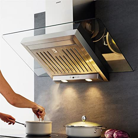 Campana Cocina Pared Silverline Atika acero inoxidable y cristal ...