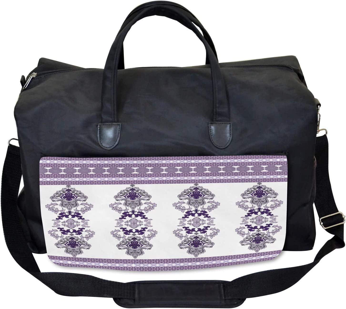 Ambesonne Damask Gym Bag Middle Eastern Motifs Large Weekender Carry-on