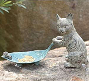 Ebros Verdi Green Aluminum Tom Cat with Mouse Pulling Leaf Bird Feeder Or Bird Bath Statue for Garden Patio Home Decor