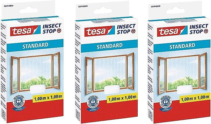 3 x Fliegen Netz anthrazit M/ückenschutz ohne Bohren 110 cm x 130 cm Insektenschutz zuschneidbar tesa Insect Stop STANDARD Fliegengitter f/ür Fenster im 3er Pack