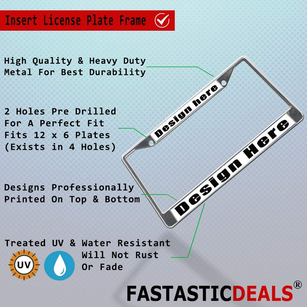 Fastasticdeals Metal License Plate Frame Get in Sit Down Shut Up and Hold On Weatherproof Car Accessories Chrome 2 Holes Solid Insert