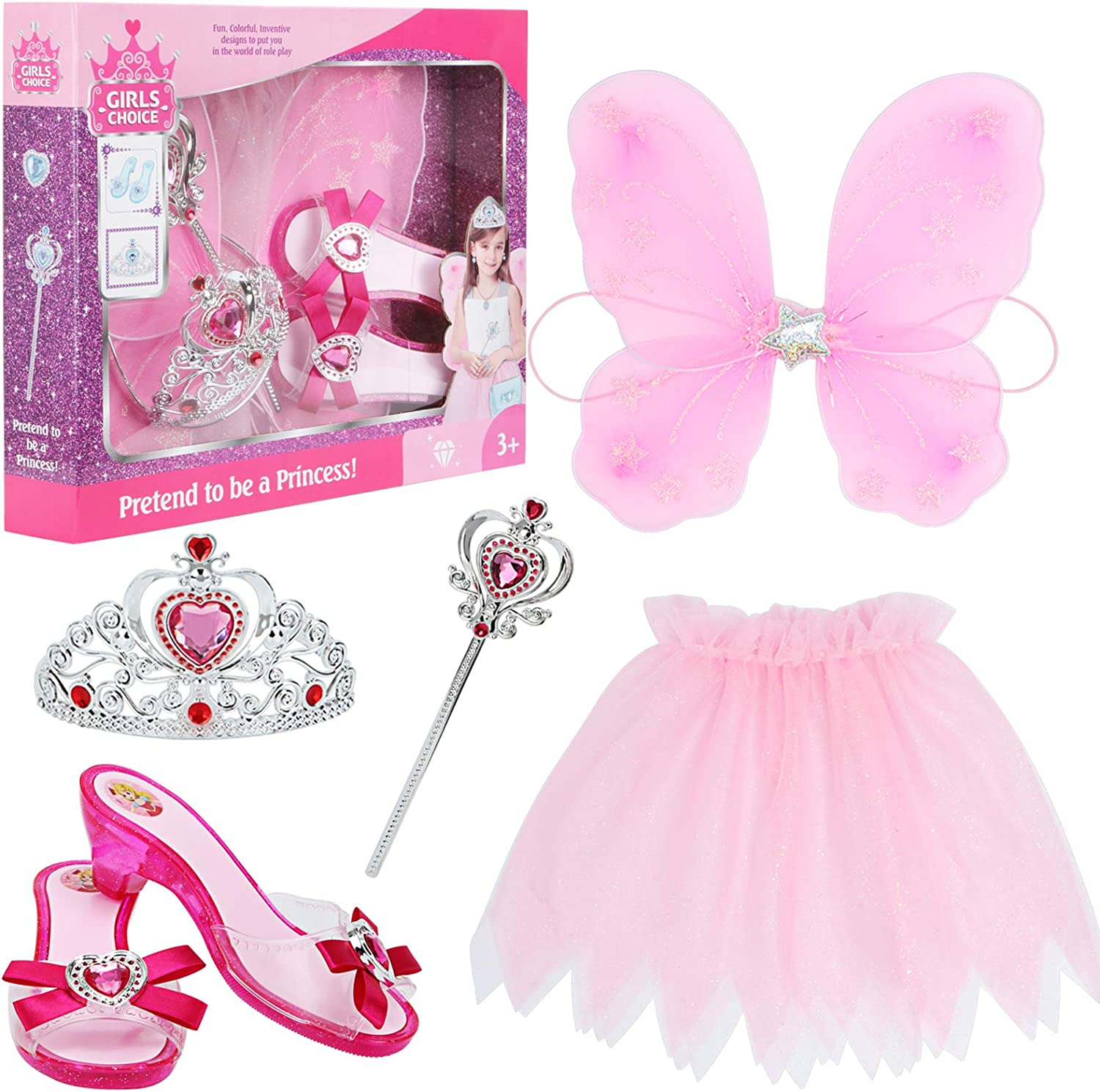 Little Girls Princess Fairy Costume Set Trunk with Wings Shoes Tiara Wand and Tutu for Kids Dress Up Party