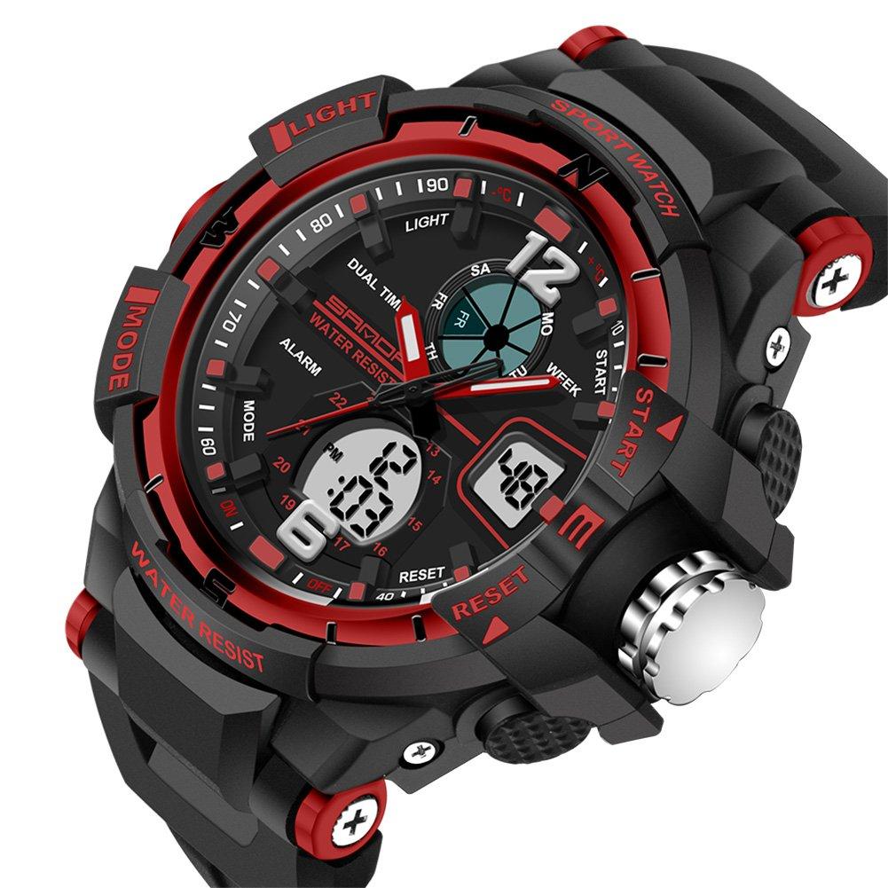 Reloj de Pulsera SANDA Digital Electronica Dual Time Zone Reloj de Cuarzo Impermeable (Rojo): Amazon.es: Relojes
