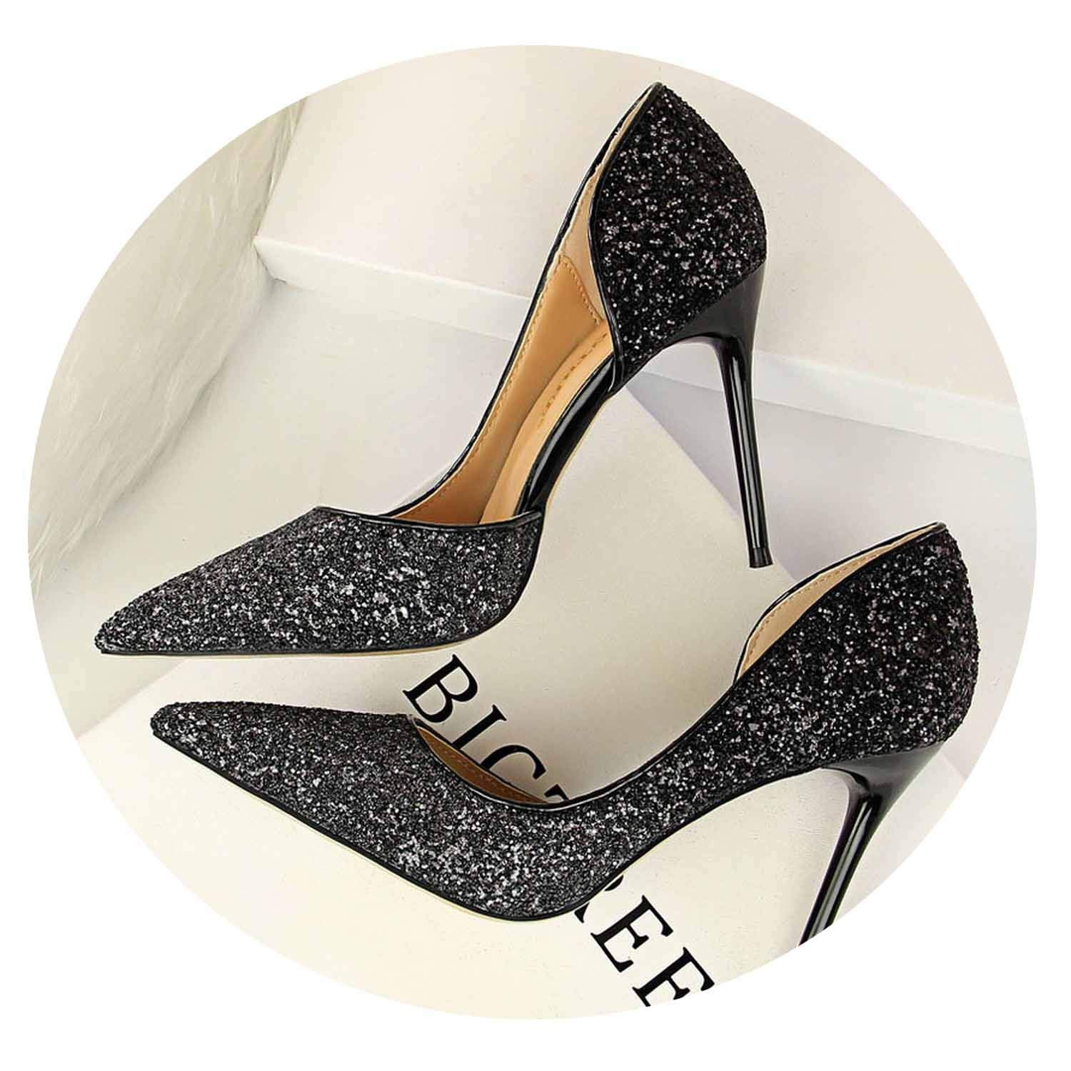 Black 9cm Glitter High Heels Sequins Scarpins Pumps Silver gold Escarpins Scarpins Talons shoes