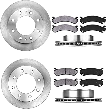 Rotors w//Metallic Pad OE Brakes 2010-2015 Chevy Impala Front + Rear