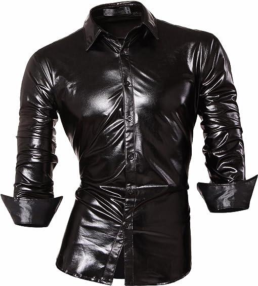 Shiny black dress shirt