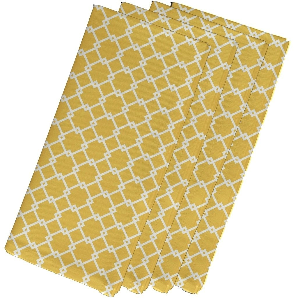 4 Piece Yellow Napkins (19''), Contemporary Style, Cotton Material, Geometric Pattern, Decorative Table Top, Simple Elegance, Suitable For Everyday, Design Cloth Napkins, Light Coral Yellow by Patriot