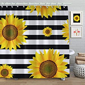 Faitove Sunflower Shower Curtain Fabric 72 X 72 Inch Bathroom Decor Waterproof Curtain with Hooks Polyester (Sunflowers Black White Stripes)
